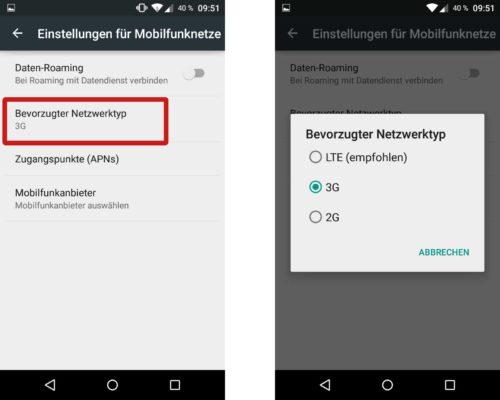 """In den Android Einstellungen unter """"Mobilfunknetze"""" kannst du den bevorzugten Netzwerktyp ändern"""