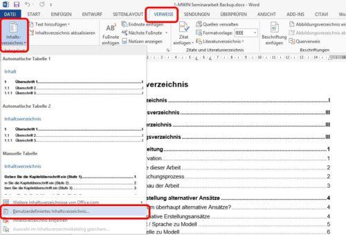 Auf Verweise -> Inhaltsverzeichnis und dort benutzerdefiniertes Inhaltsverzeichnis in Word einfügen