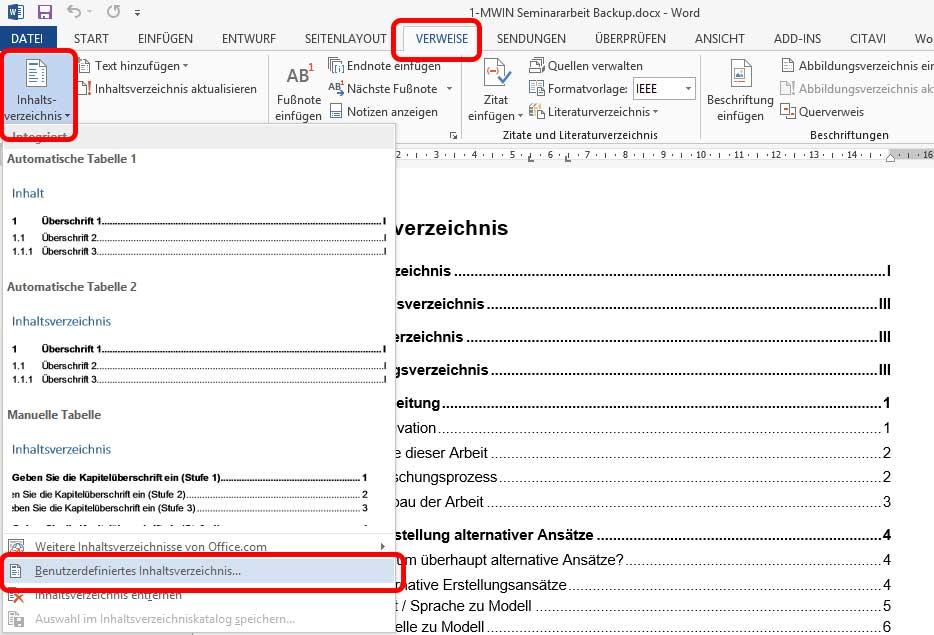 Word Inhaltsverzeichnis Einfügen