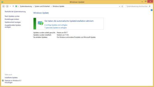 Bei Windows Update in der Systemsteuerung findest du weitere wichtige Updates für Windows 8 und Co